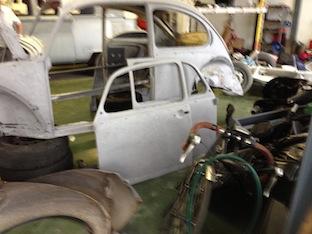 VW Beetle panels soda blasted