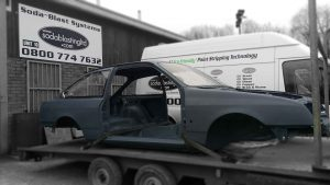 Sierra Cosworth blasted and primed