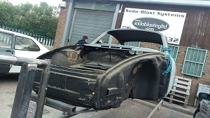 Porsche 911 on roll over jig